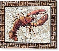 Coastal Lobster Decorative Painting Greek Border Design By Madart Studios Acrylic Print by Megan Duncanson