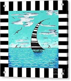 Coastal Nautical Decorative Art Original Painting With Stripes Refreshing By Madart Acrylic Print by Megan Duncanson