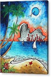 Coastal Tropical Beach Art Contemporary Painting Whimsical Design Tropical Vacation By Madart Acrylic Print by Megan Duncanson
