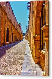 Rhodes Cobbled Street Acrylic Print by Scott Carruthers