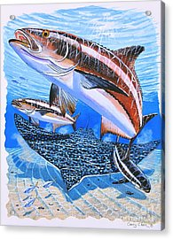 Cobia On Rays Acrylic Print by Carey Chen