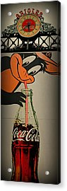 Coca Cola Orioles Sign Acrylic Print by Stephen Stookey
