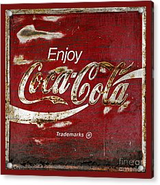 Coca Cola Red Grunge Sign Acrylic Print by John Stephens