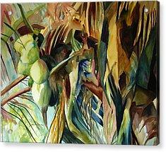Coconuts And Palm Fronds 5-16-11 Julianne Felton Acrylic Print by Julianne Felton