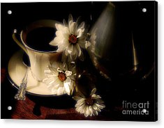 Coffee And Daisies  Acrylic Print by Lois Bryan