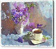 Coffee And Flowers Acrylic Print by Yury Malkov