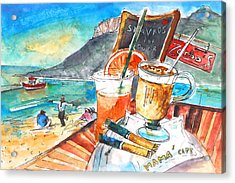 Coffee Break In Stavros In Crete Acrylic Print by Miki De Goodaboom