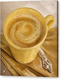 Coffee In Yellow Acrylic Print by Iris Richardson