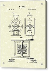 Coffee Mill 1875 Patent Art Acrylic Print by Prior Art Design