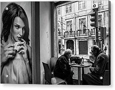 Coffeea?s Conversations Acrylic Print by Luis Sarmento