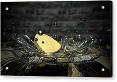 Coin Hitting Water Splash Acrylic Print by Allan Swart