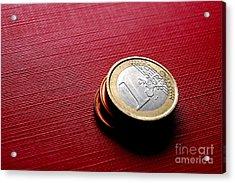 Coins Euro Acrylic Print by Michal Bednarek