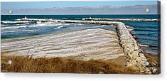 Cold And Frosty Sesuit Harbor Entrance Acrylic Print by Carl Jacobs