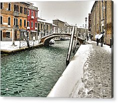 Acrylic Print featuring the photograph Cold Winter In Venice by Thierry Bouriat