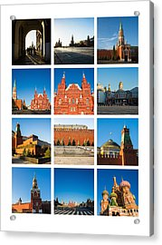 Collage - Red Square In The Morning Acrylic Print by Alexander Senin