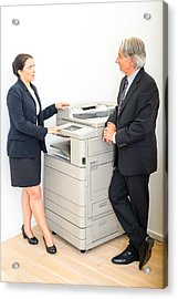 Colleagues Talking At  Copying Machine In The Office Acrylic Print by Frank Gaertner