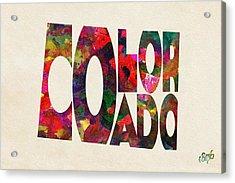 Colorado Typographic Watercolor Map Acrylic Print by Ayse Deniz