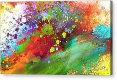 Color Explosion Abstract Art Acrylic Print by Ann Powell