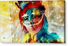 Color Mask Acrylic Print by Linda Sannuti