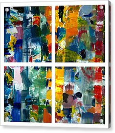 Color Relationships Collage Acrylic Print by Michelle Calkins
