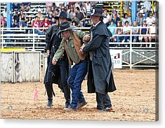 Color Rodeo Shootout Deputies Arrest Outlaw Acrylic Print by Sally Rockefeller