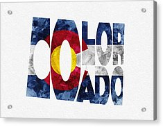 Colorado Typographic Map Flag Acrylic Print by Ayse Deniz