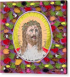 Colored Background Jesus Acrylic Print by Donna Munro