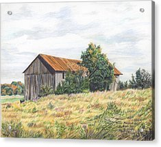 Colored Pencil Barn Acrylic Print by Marshall Bannister