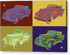 Colorful 1938 Cadillac Lasalle Pop Art Acrylic Print by Keith Webber Jr
