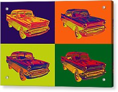 Colorful 1957 Chevy Bel Air Car Pop Art  Acrylic Print by Keith Webber Jr