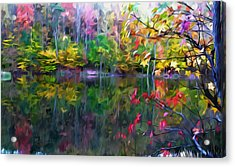 Colorful Autumn Leaves Reflecting In The Water Acrylic Print by Lanjee Chee