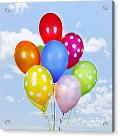 Colorful Balloons With Blue Sky Acrylic Print by Elena Elisseeva