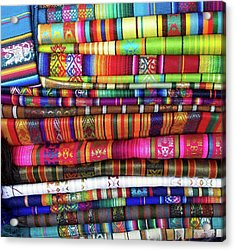 Colorful Blankets At Indigenous Market Acrylic Print by Miva Stock