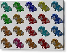 Colorful Dachshund Pop Art Poster Acrylic Print by Dan Sproul