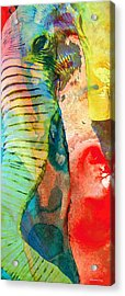Colorful Elephant Art By Sharon Cummings Acrylic Print by Sharon Cummings