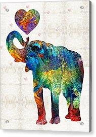 Colorful Elephant Art - Elovephant - By Sharon Cummings Acrylic Print by Sharon Cummings