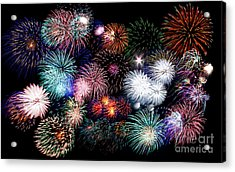 Colorful Fireworks Of Various Colors In Night Sky Acrylic Print by Stephan Pietzko
