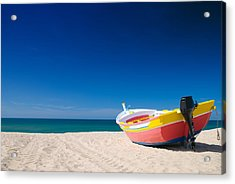 Colorful Fishing Boat Algarve Portugal Acrylic Print by Amanda And Christopher Elwell