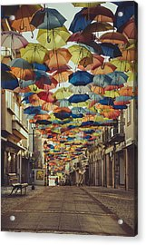 Colorful Floating Umbrellas II Acrylic Print by Marco Oliveira