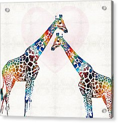 Colorful Giraffe Art - I've Got Your Back - By Sharon Cummings Acrylic Print by Sharon Cummings