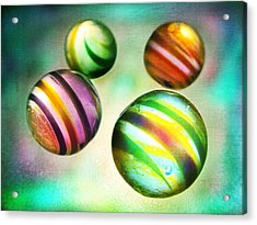 Colorful Glass Marbles Acrylic Print by Marianna Mills