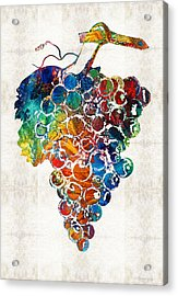 Colorful Grapes Fruit Art By Sharon Cummings Acrylic Print by Sharon Cummings