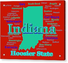 Colorful Indiana State Pride Map Silhouette  Acrylic Print by Keith Webber Jr