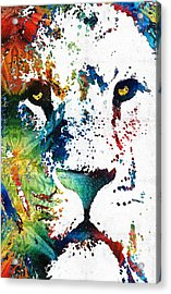 Colorful Lion Art By Sharon Cummings Acrylic Print by Sharon Cummings