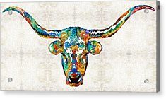 Colorful Longhorn Art By Sharon Cummings Acrylic Print by Sharon Cummings