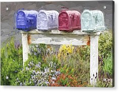 Colorful Mailboxes And Flowers Painterly Effect Acrylic Print by Carol Leigh