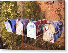 Colorful Mailboxes Santa Fe Painterly Effect Acrylic Print by Carol Leigh