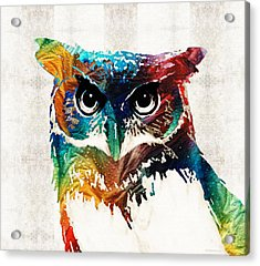 Colorful Owl Art - Wise Guy - By Sharon Cummings Acrylic Print by Sharon Cummings