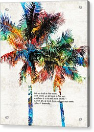 Colorful Palm Trees - Returning Home - By Sharon Cummings Acrylic Print by Sharon Cummings