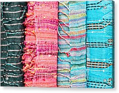 Colorful Scarves Acrylic Print by Tom Gowanlock